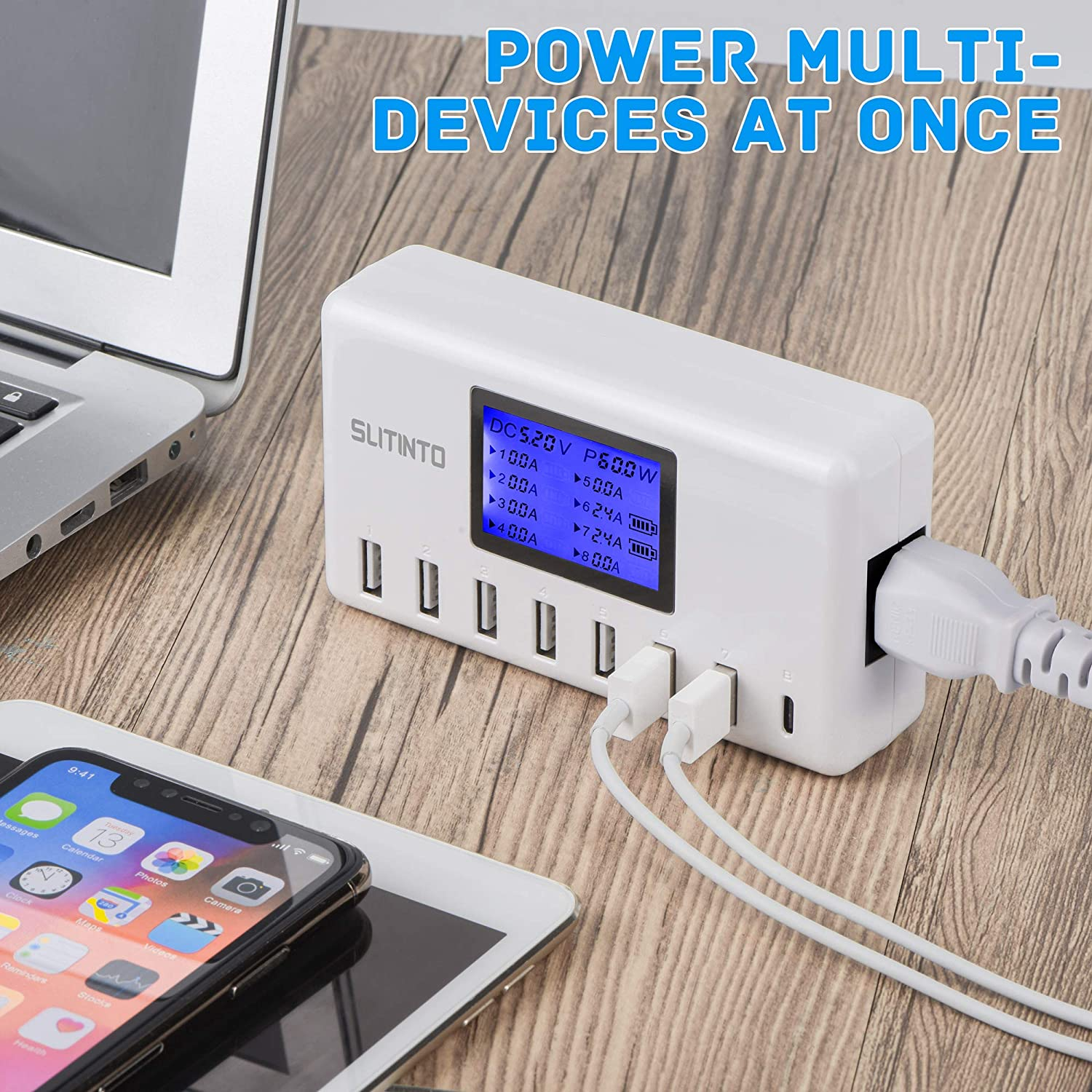 USB Charger, slitinto 60W 12A 8-Port USB Charging Station Multi Port Hub Charger UL Certified Compact Size w/LCD Display Compatible iPhone SE 11 Pro Max iPad Pro Air Mini Galaxy S10+ Tablet and More